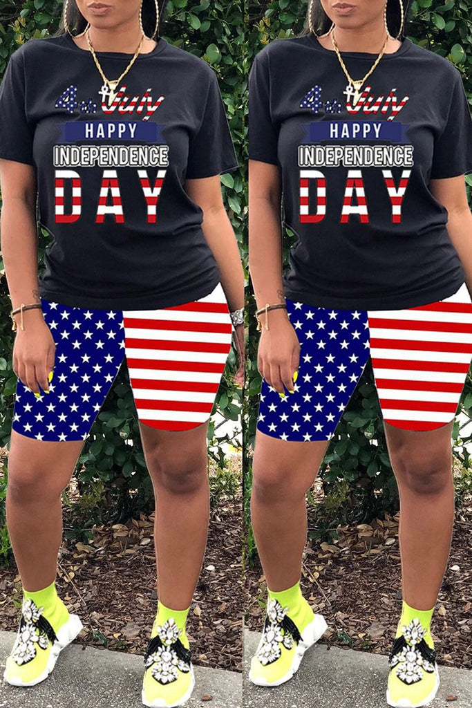 Plus Size American Flag Print Two Piece Sets