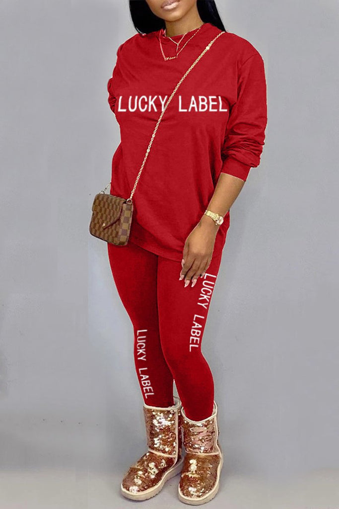 Embroidered Letter Solid Color Round Neck Top & Pants