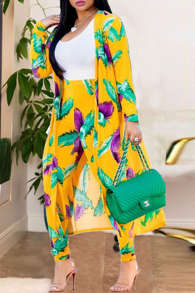 Plus Size Print Long Sleeve Casual Two Piece Outfits