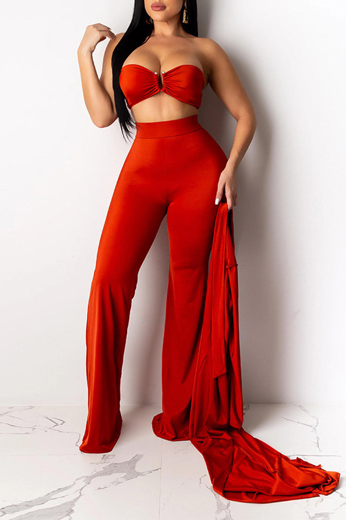 Solid Strapless Lace-up Three Piece Sets