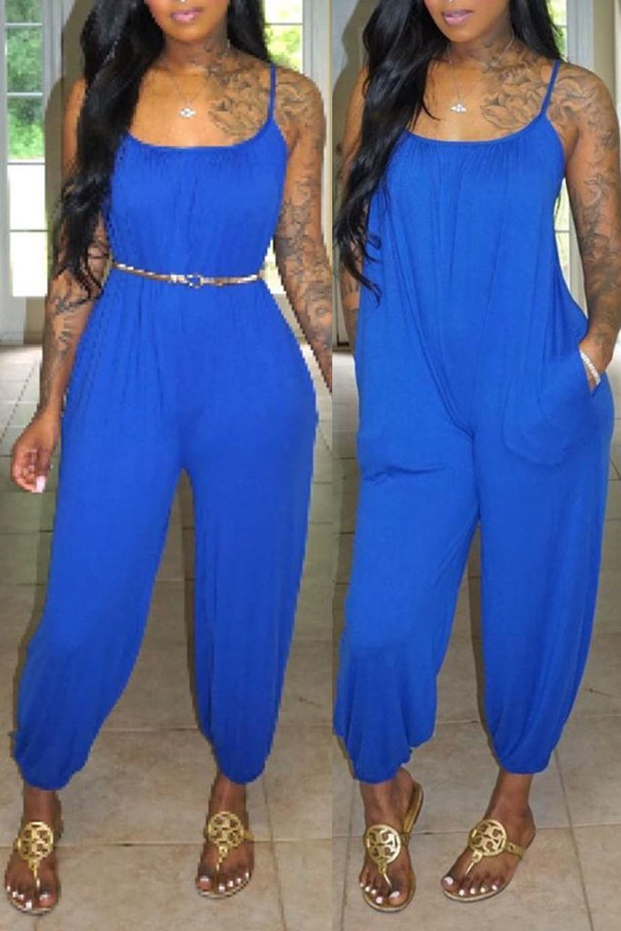 Spaghetti Straps Solid Jumpsuit Without Belt
