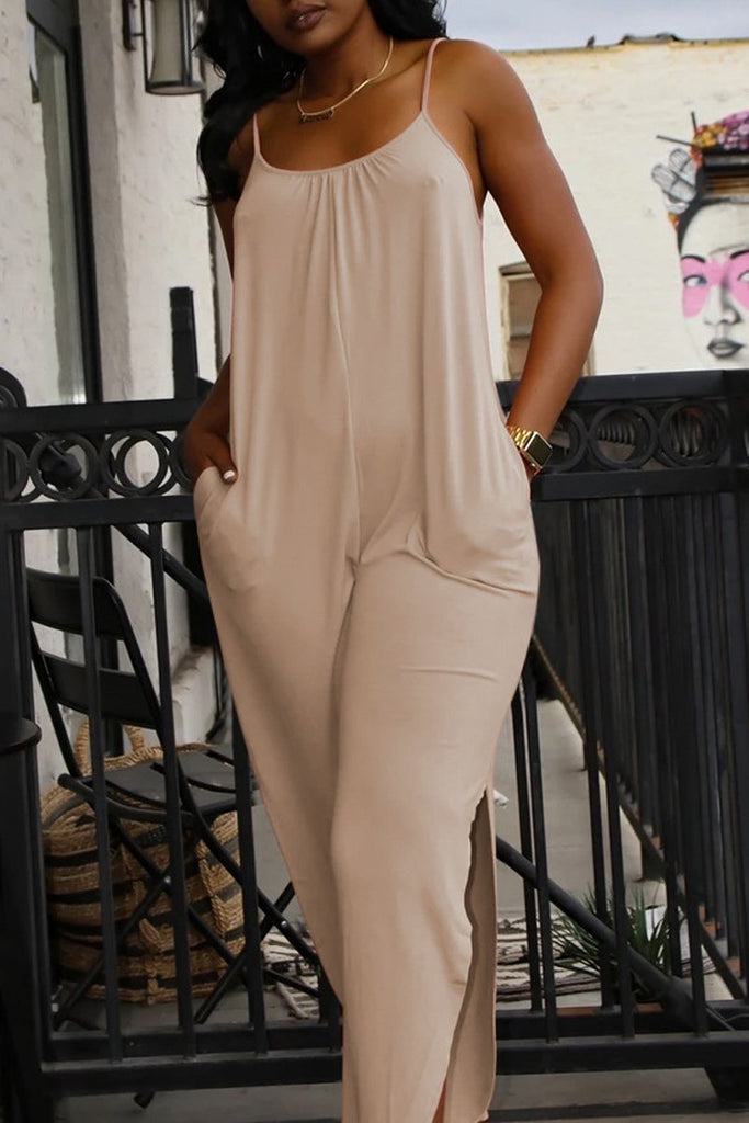 Spaghetti Straps Sleeveless Side Slit Jumpsuit