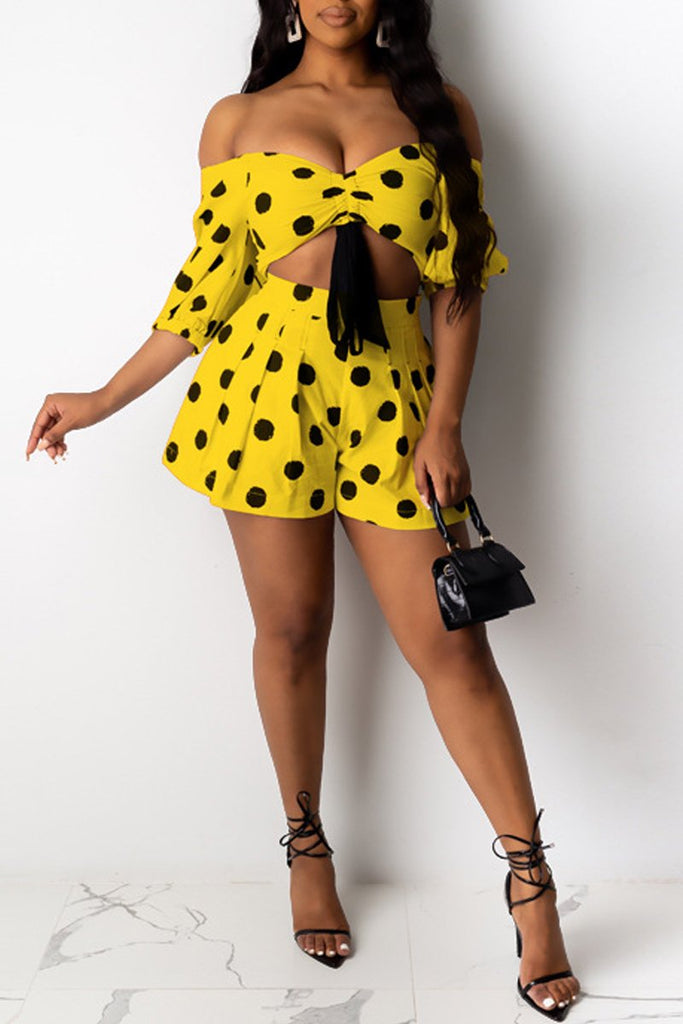 Polka Dot Tie Up Off The Shoulder Top & Shorts
