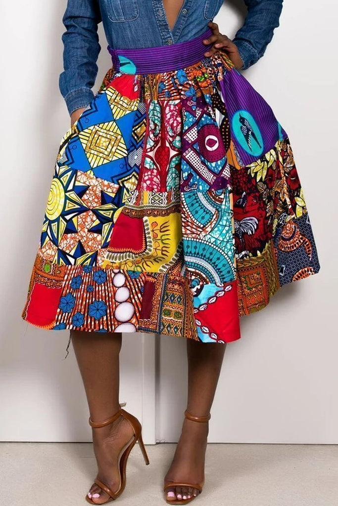 Tribal Print High Waist Midi Skirt