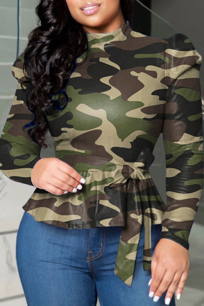 Camouflage Printed Puff Sleeve Lace-up Blouse