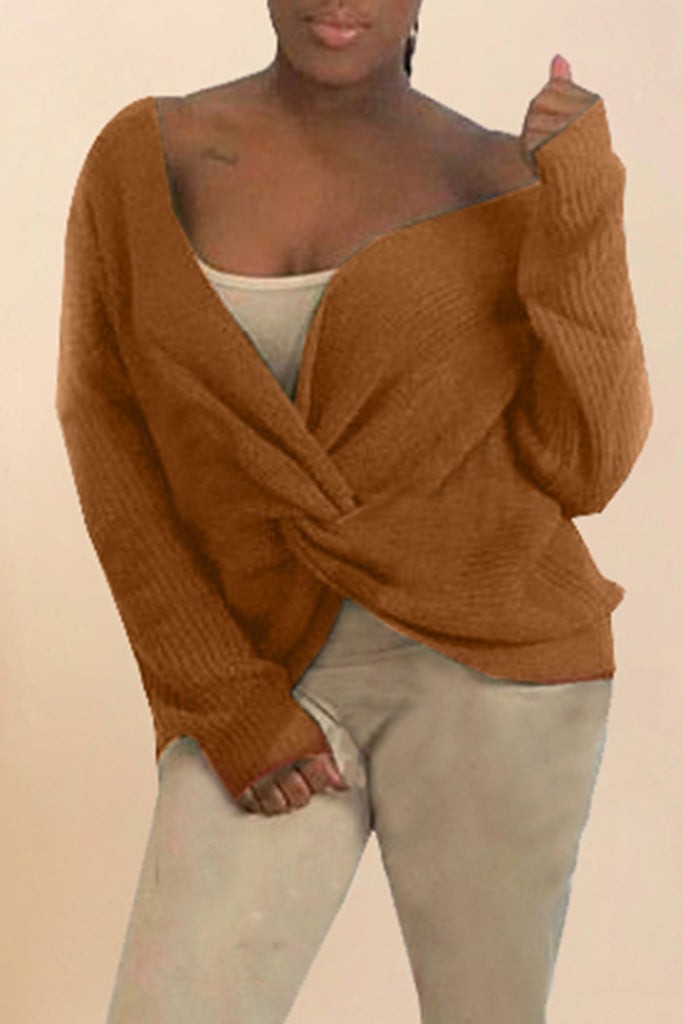 Knitted Knotted Solid Color Casual Top