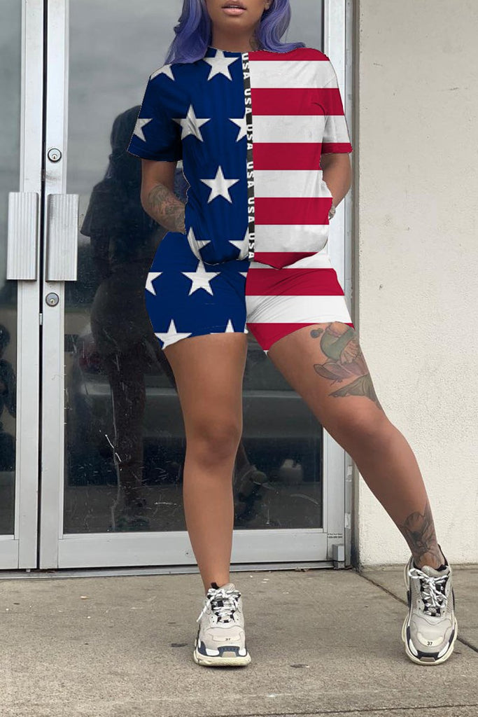Plus Size American Flag Print Top & Shorts