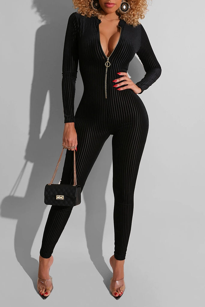 Rib Zipper Collar Solid Color Jumpsuit