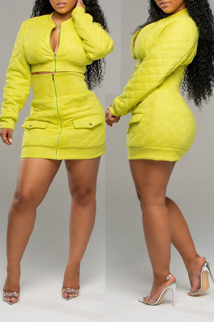 Solid Zipper Collar Two Piece Mini Dress