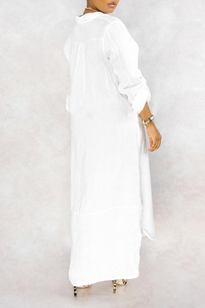 Turndown Collar Slit Hem Casual Dress