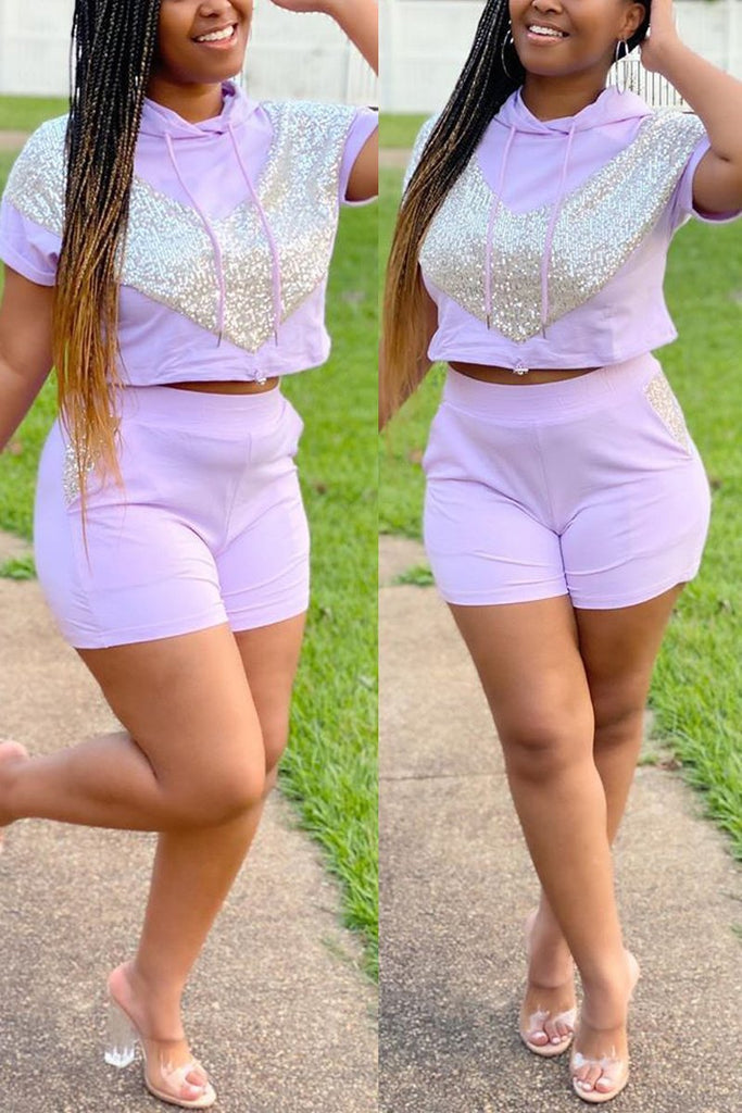 Plus Size Hooded Collar Sequin Top & Shorts