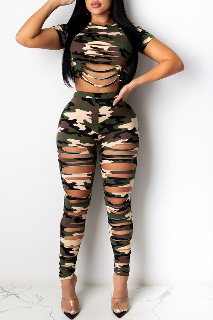 Hole Distressed Camouflage Print Two Piece Sets