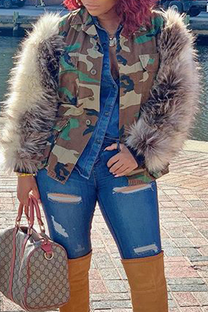 Camouflage Printed Faux Fur Collar Coat