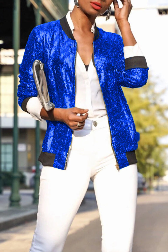 Sequin Zipper Long Sleeve Jacket