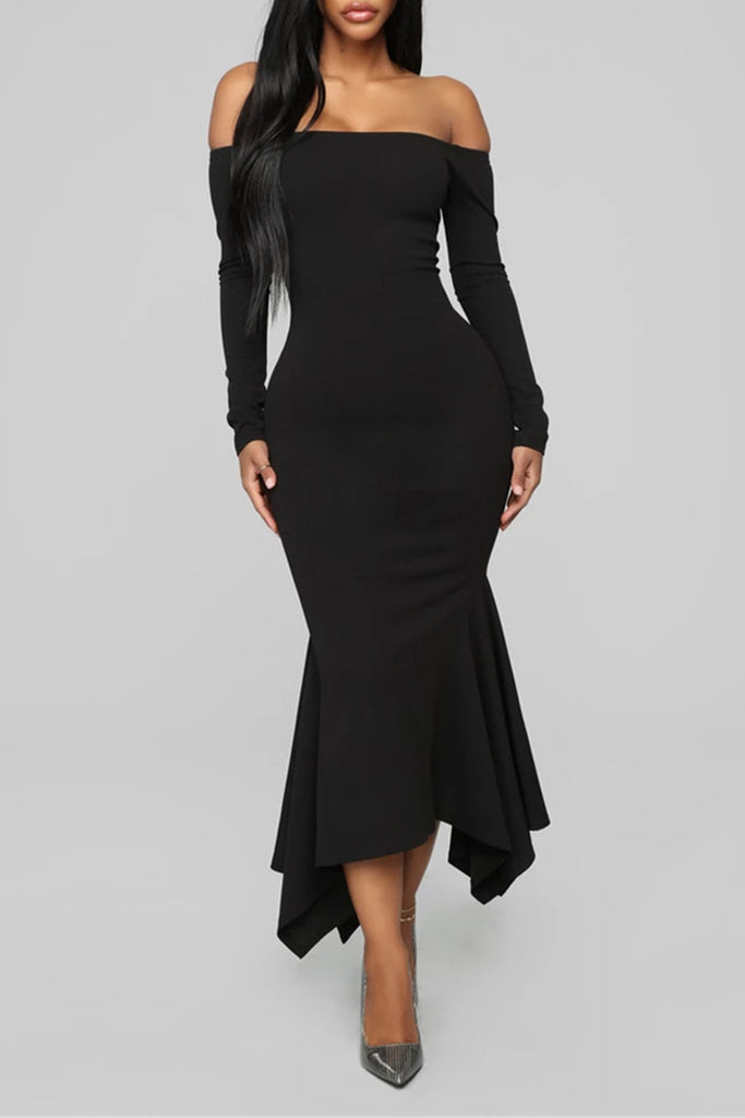 Irregular Hem Off The Shoulder Maxi Dress