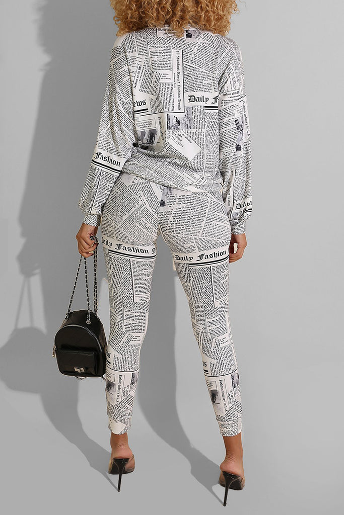 Newspaper Print Long Sleeve Two Piece Outfits