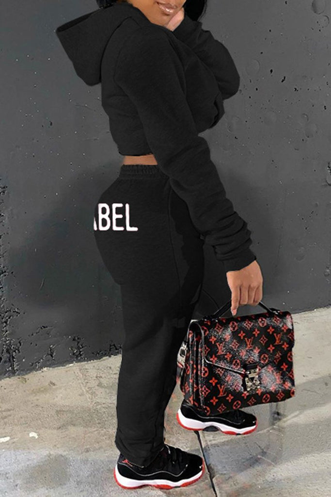 Embroidered Letter Hooded High Waist Top & Pants