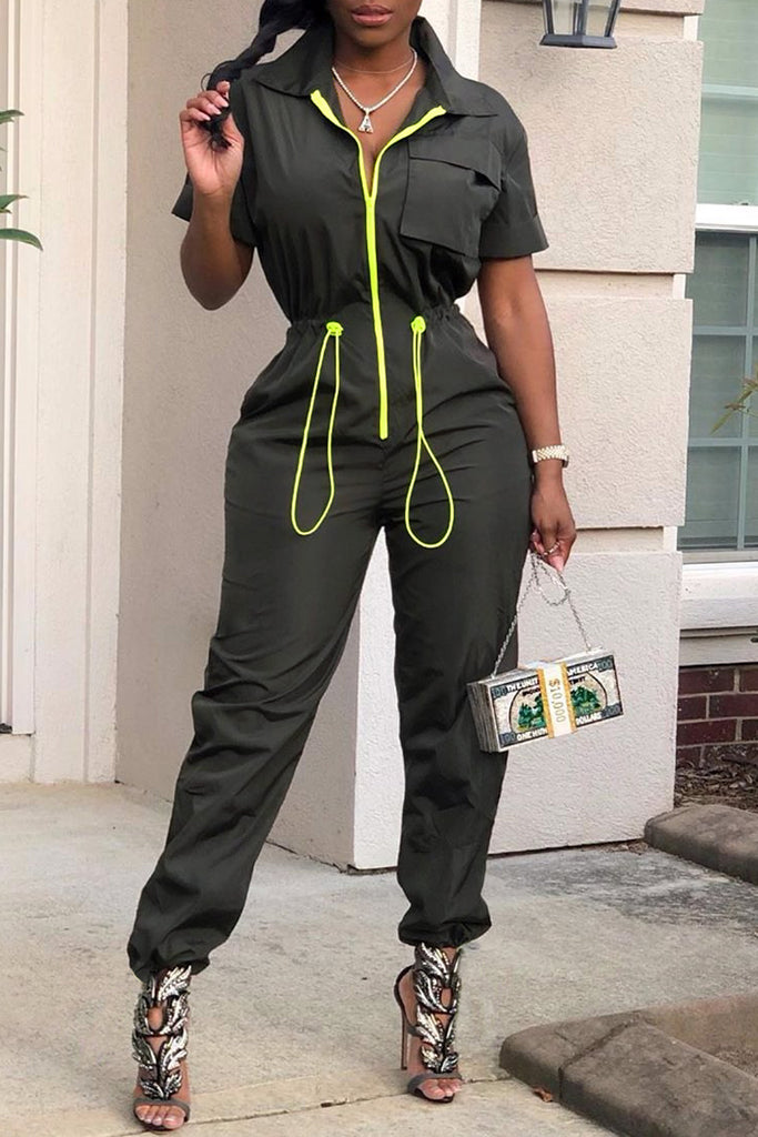 Turndown Collar Elastic Waist Zipper Jumpsuit