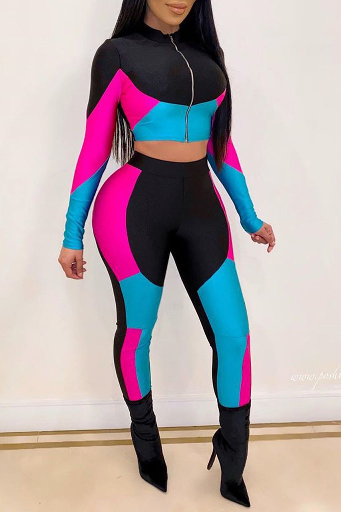 Color Block Zipper Long Sleeve Two Piece Sets