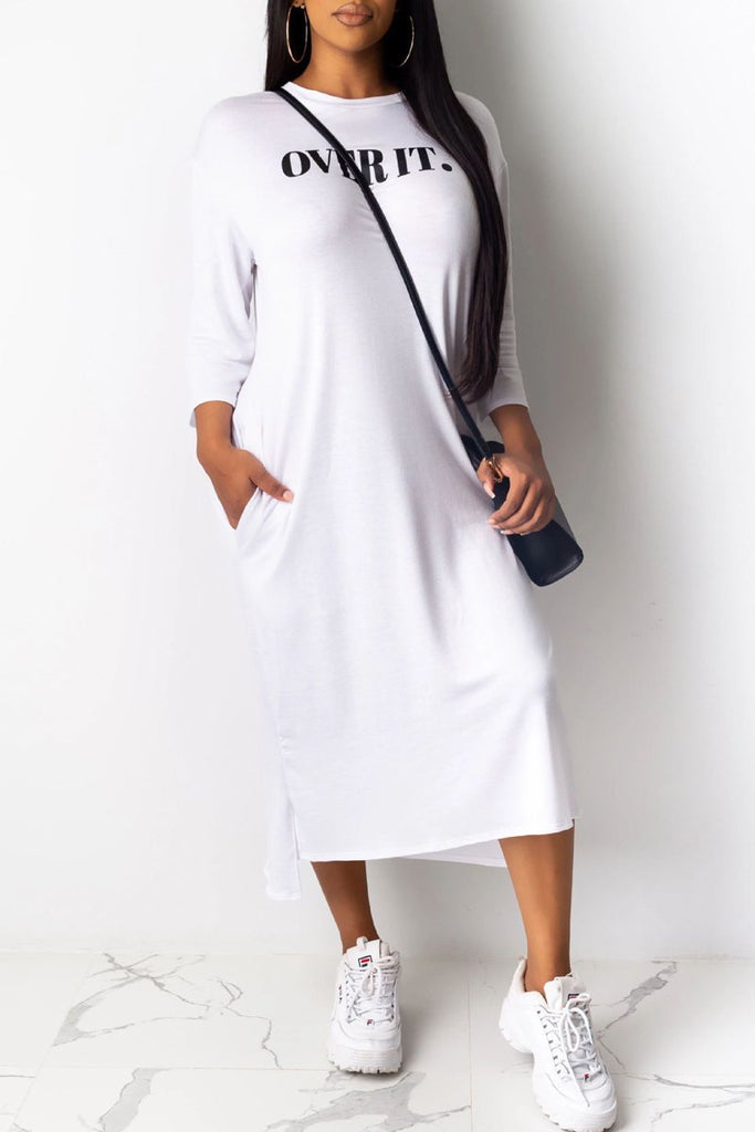 Letter Print Side Slit Asymmetric Midi Dress