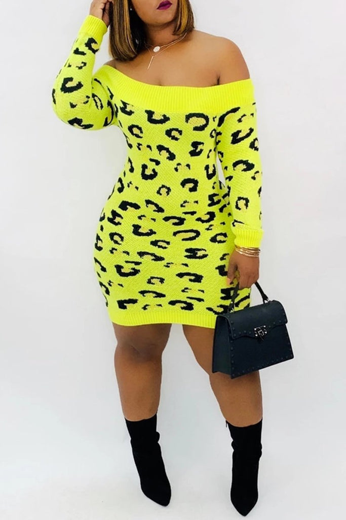 Off The Shoulder Leopard Print Midi Dress
