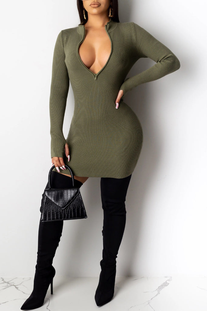 Solid Color Zipper Closure Mini Dress