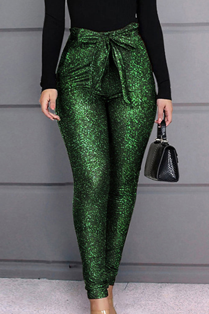 Sequins Bowknot Club Pencil Pants