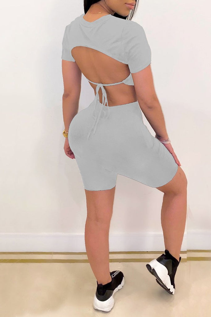 Open Back Solid Color Bandage Top & Shorts