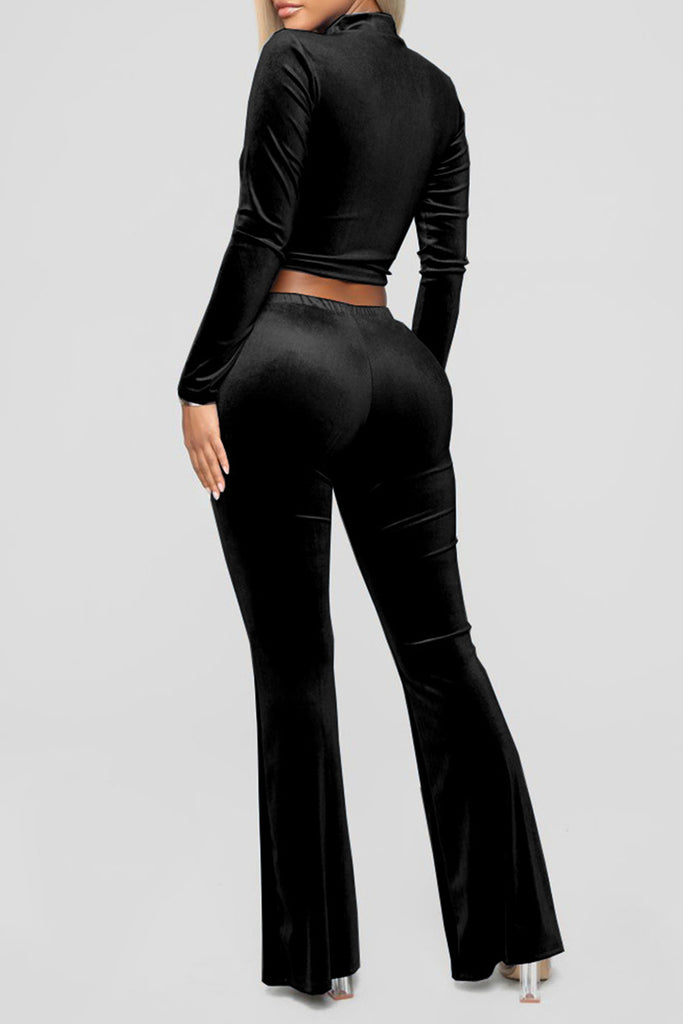 Pierced High Waist Solid Color Top & Pants