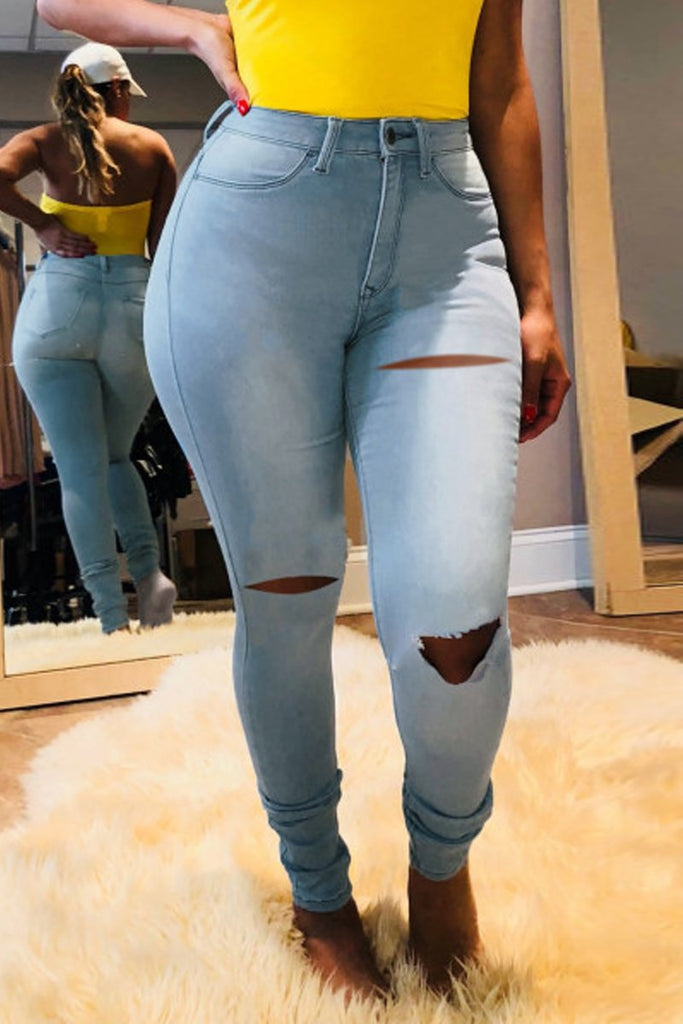 High-elastic Hole Distressed Plus Size Jeans