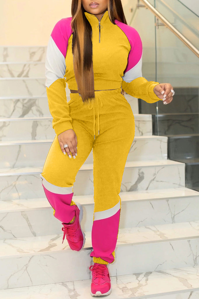 Plus Size Color Block Drawstring Long Sleeve Top & Pants