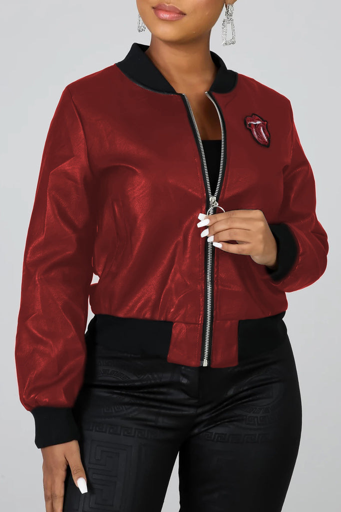 Sequin Lip Print Zipper Up Jacket