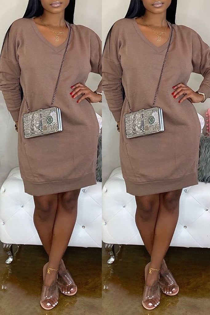 Solid V-neck Pocket Sweater Mini Dress