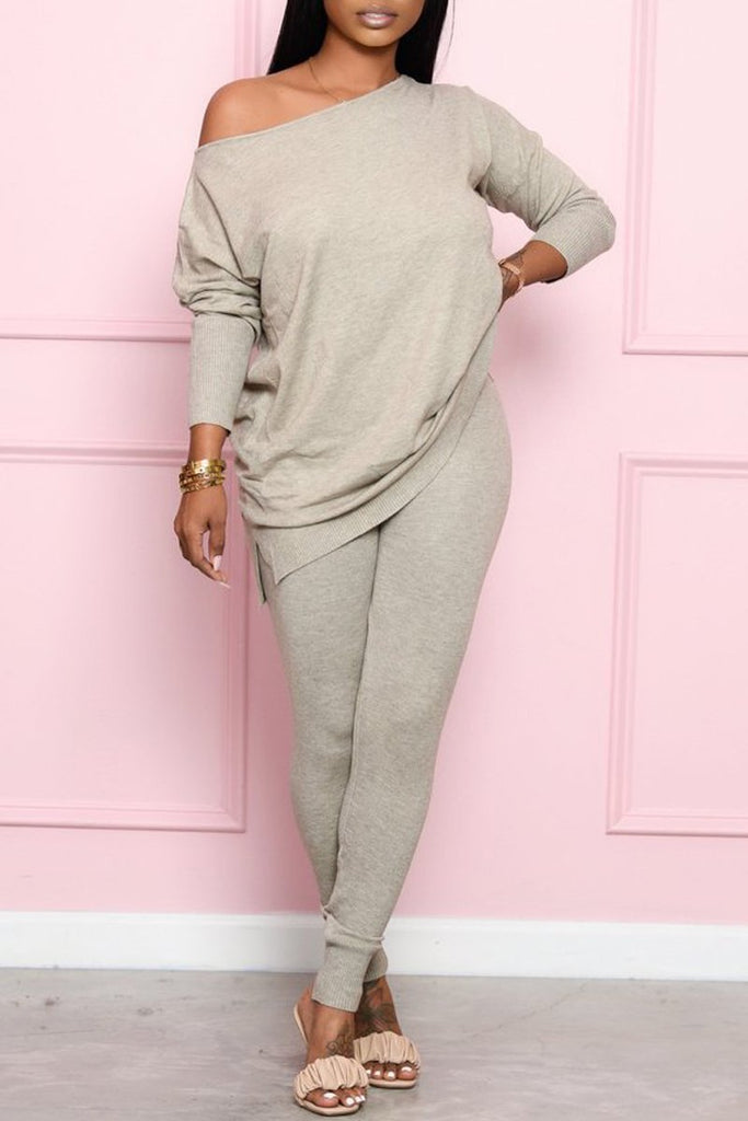 Skew Neck Side Slit Casual Two Piece Sets