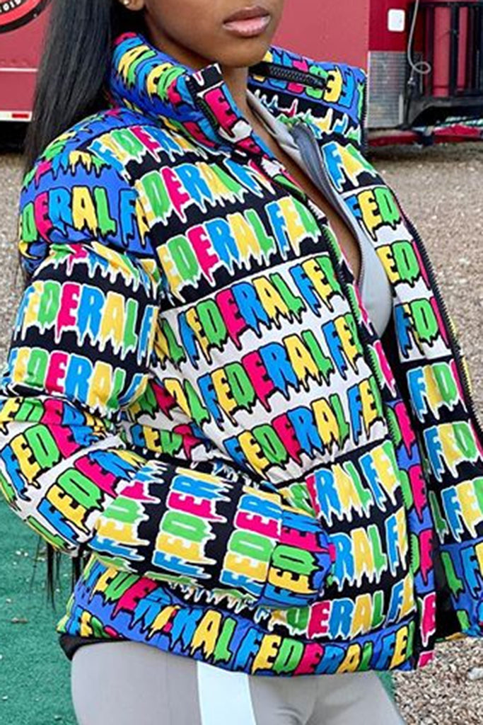 Colorful Letter Print Zipper Cotton Jacket