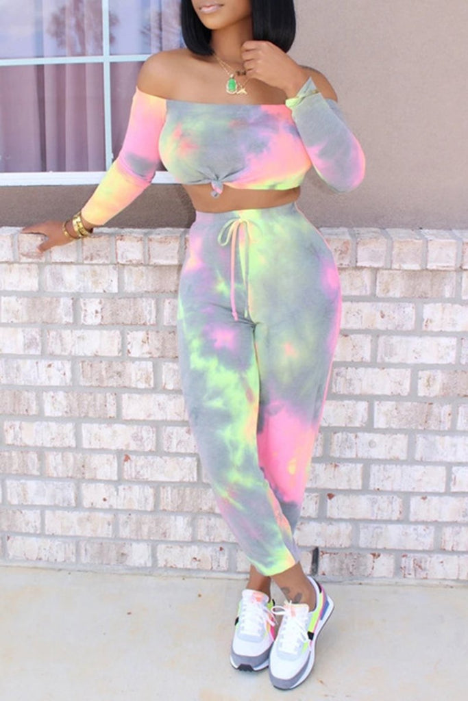 Off The Shoulder Colorful Two Piece Sets