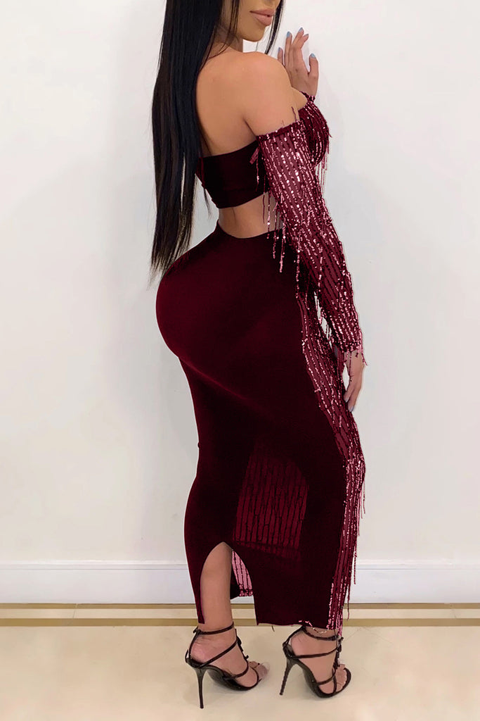 Tassels See-Through Off The Shoulder Club Top & Skirt