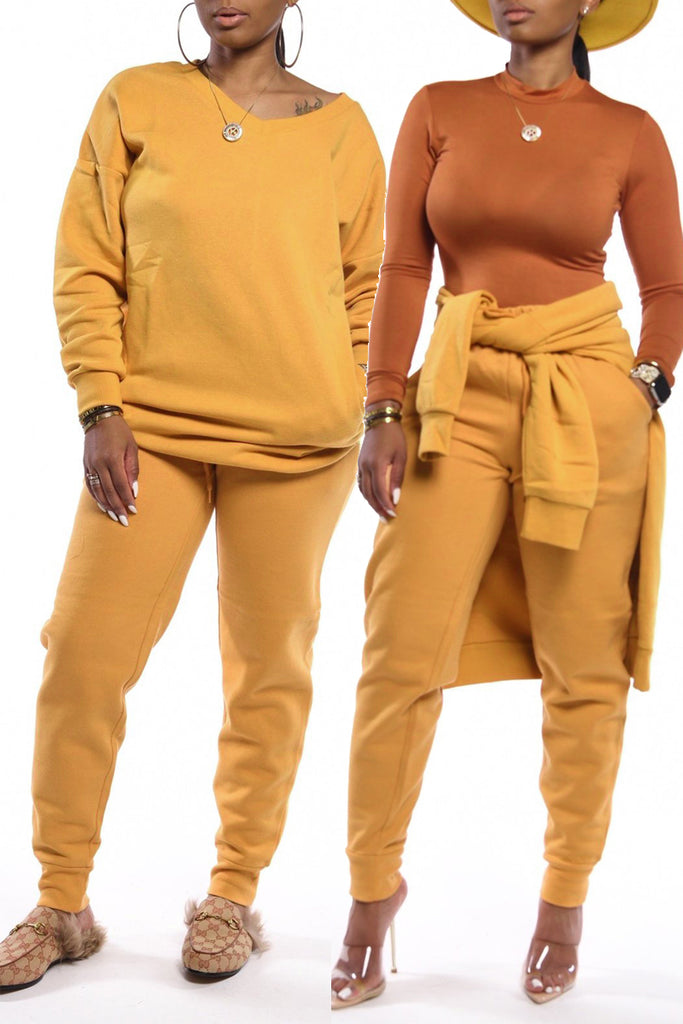 Casual V-neck Long Sleeve Two Piece Outfits