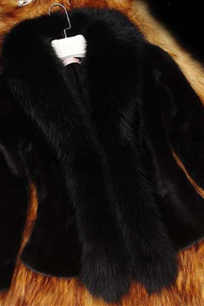 Plus Size Faux Fur Collar Solid Color Coat