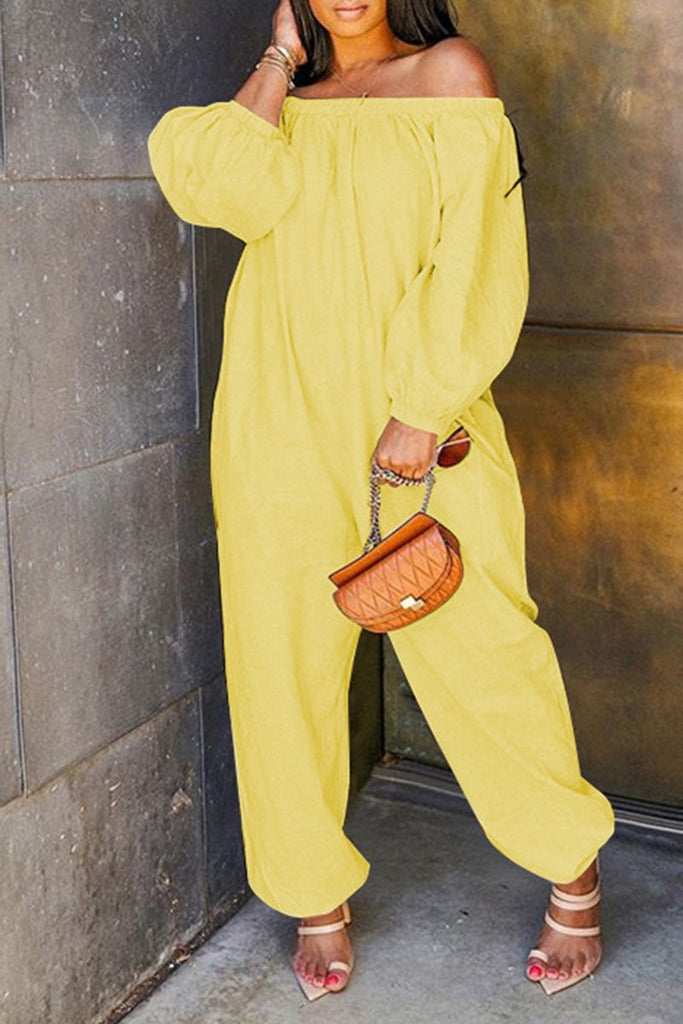 Lantern Sleeve Pocket Solid Color Jumpsuit