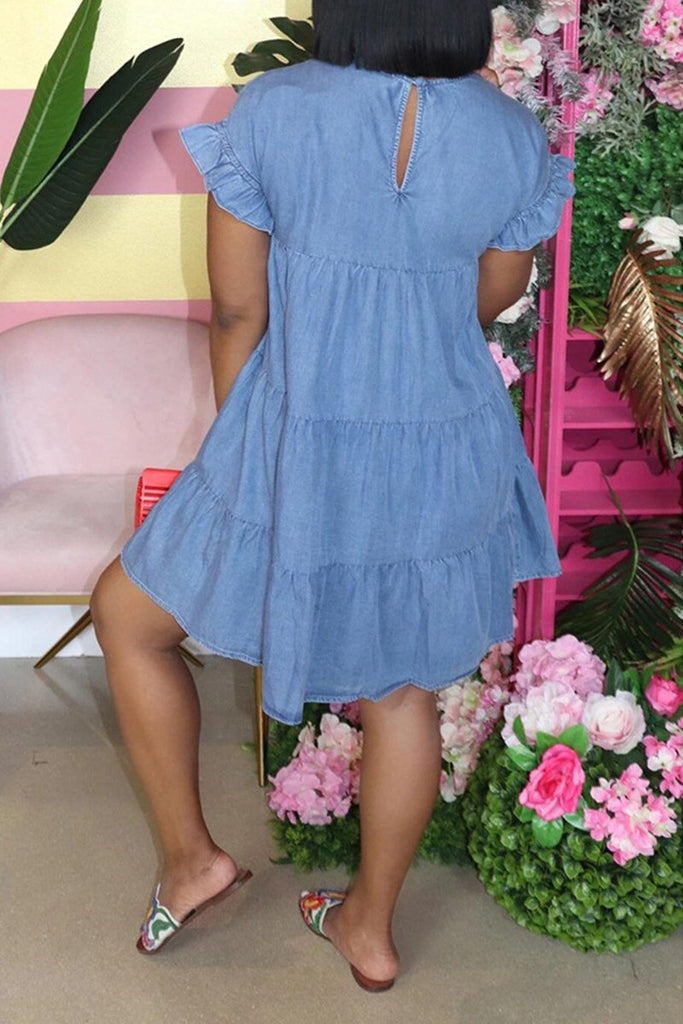 Denim Ruffled Solid Color Plus Size Dress