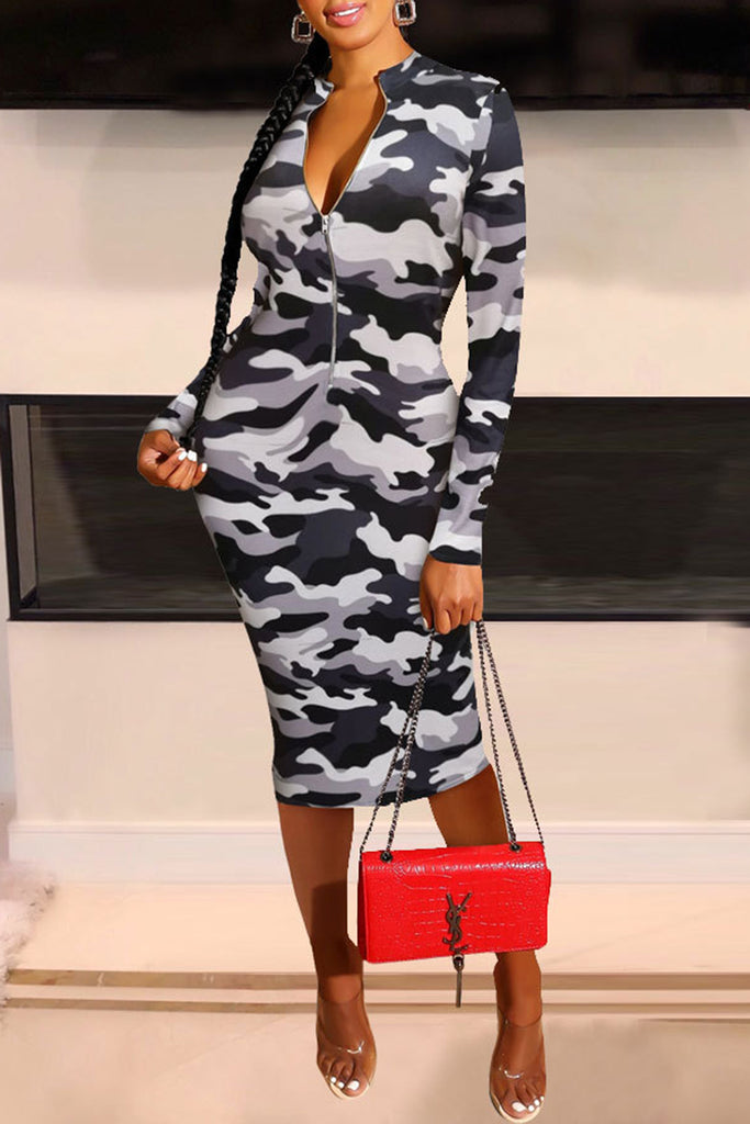 Camouflage Print Zipper Collar Midi Dress
