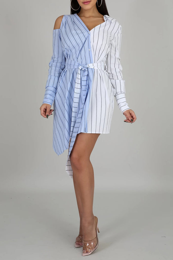 Striped Splicing Irregular Hem Shirt Dress