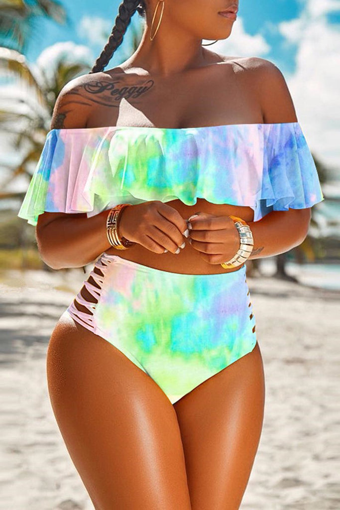 Off The Shoulder Tie Dye Two Piece Swimwear