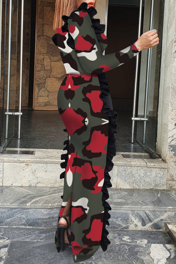 Camouflage Printed Ruffle Maxi Dress