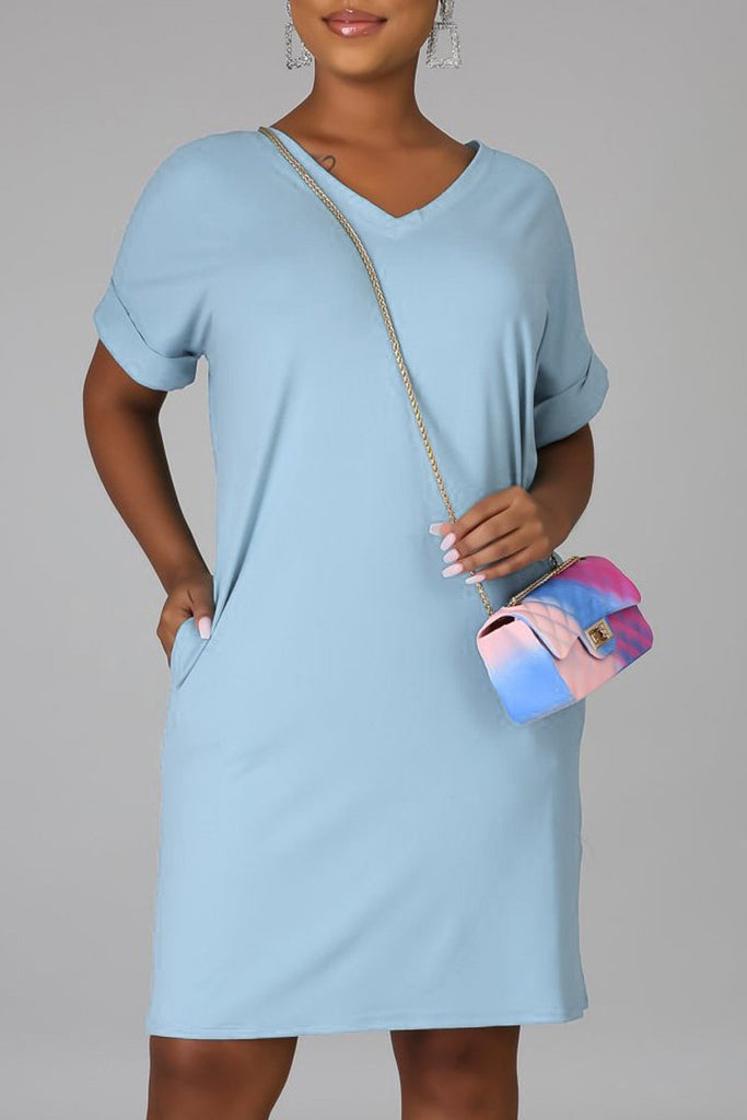 Solid Color V-neck Pocket Mini Dress