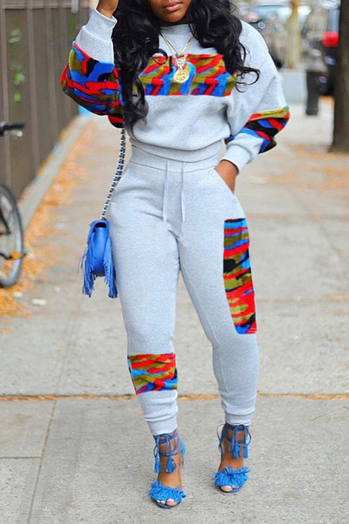 Colorful Color Block Long Sleeve Top & Pants