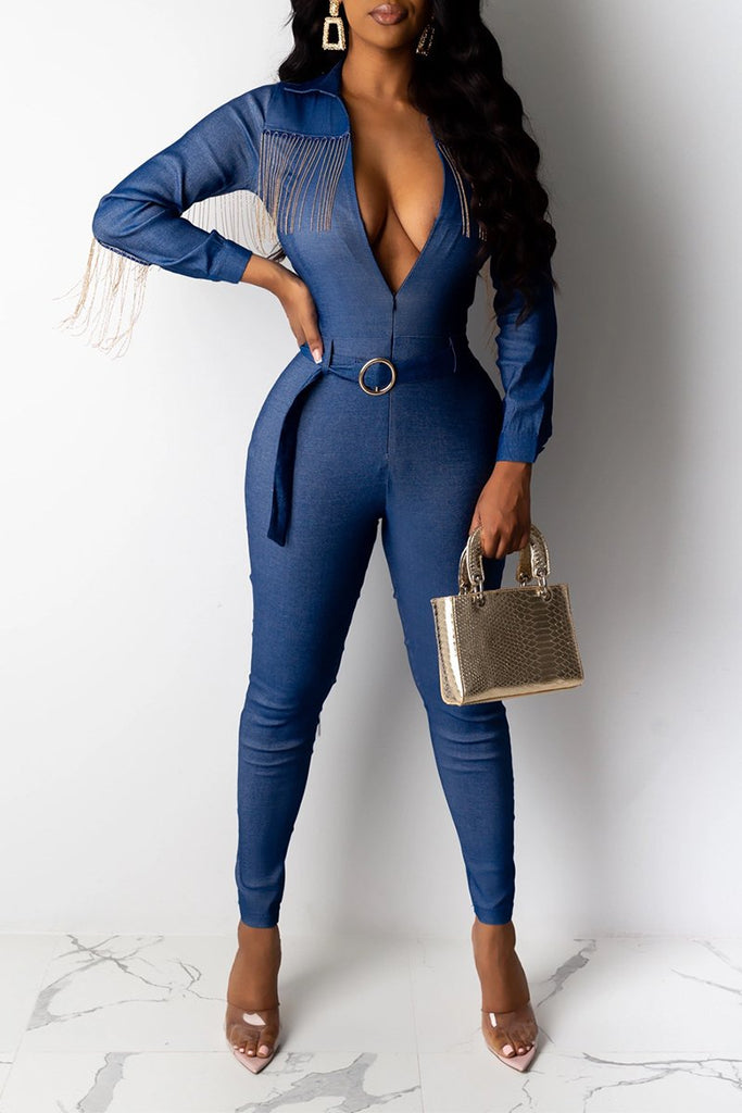 Denim Turndown Collar Tassels Jumpsuit With Belt