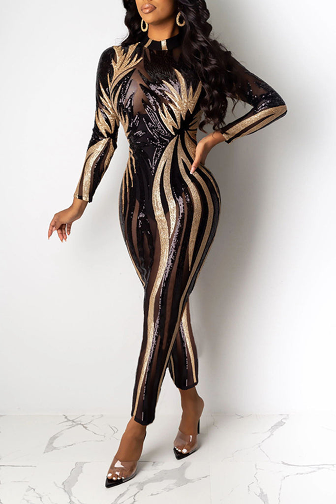Hot Drilling See-Through Club Jumpsuit
