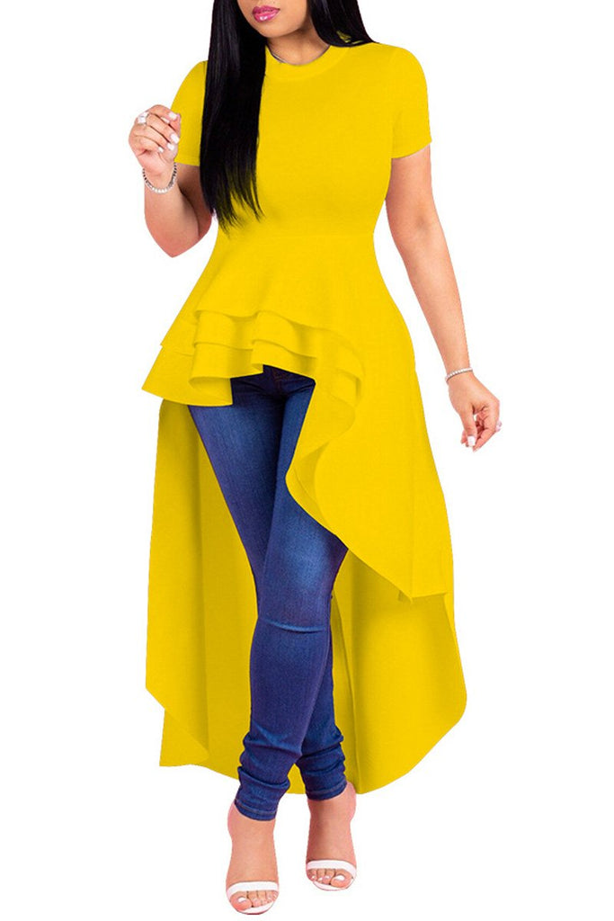 Asymmetric Hem Plus Size Solid Color Dress